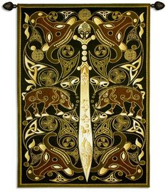 Celtic Warrior Medieval Tapestry Wall Hanging - Ornamental Design, 45in X 63in