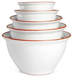 One Kings Lane - The Kitchen Store - S/5 Terra Mixing Bowls, White/Red