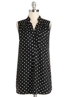 Girl about Scranton Tunic in Polka Dots. From the office to your favorite margarita-sipping spot, you entertain others in the effortless style of this breezy black-and-white top - a ModCloth exclusive! #black #modcloth