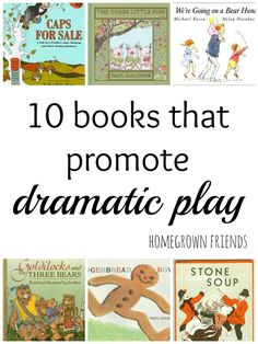 Books That Promote Dramatic Play - Homegrown Friends 10 Books that Promote Dramatic Play - Such a fun way to engage imagination and Books that Promote Dramatic Play - Such a fun way to engage imagination and literacy. Drama Activities, Reading Activities, Literacy Activities, Drama Games, Activity Books, Dramatic Play Area, Dramatic Play Centers, Teaching Theatre, Drama Teaching