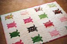 This would be so cute and inexpensive to do with recycled lilly paper with some modge podge and paint on a canvas --- Originally a Delta Zeta Turtle Sorority Quilt by SororityStitch on Etsy Sorority Outfits, Sorority Gifts, Sigma Kappa, Theta, Delta Zeta Crafts, Total Sorority Move, Turtle Quilt, Baby Turtles, Shirt Quilt