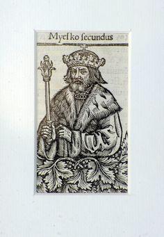 """Mieszko I - drzeworyt z książki Macieja z Miechowa, """"Chronica Polonorum"""" (Kronika Polska), 1521 r."""