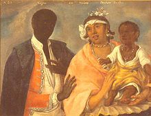 "A painting captioned ""Negro con Mulatta produce Sambo"" (""Negro with a mulatta produces a Sambo""), Indian school, 1770. -Sambo is a term for a person with African heritage and, in some countries, also mixed with Native American heritage (zambo)"