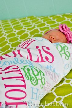 Doesn't every baby NEED a Personalized Baby Blanket Full Size Swaddle?!   I think so! I will have one of these for each of the kids.... if only to put away for them...