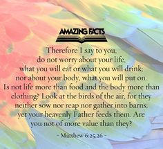 Therefore I say unto you, Take no thought for your life, what ye shall eat, or what ye shall drink; nor yet for your body, what ye shall put on. Is not the life more than meat, and the body than raiment?  Behold the fowls of the air: for they sow not, neither do they reap, nor gather into barns; yet your heavenly Father feedeth them. Are ye not much better than they?  Matthew 6:25-26