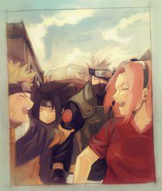Anime: Naruto Personagens: Hatake Kakashi, Uzumaki Naruto, Haruno Sakura e Uchiha Sasuke Kakashi Hatake, Naruto Uzumaki, Anime Naruto, Naruto Sasuke Sakura, Shikamaru, Manga Anime, Sasunaru, Naruto Team 7, Naruto Family