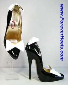 ForeverHeels Style P_DB, Rounded Pointed Toes, 16cm Heels, Black PU Shoes, White PU Bows