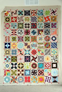 Amanda's farmer's wife quilt top.  If I were a kid ... heck if I were ME ... I would spend hours gazing at each different block and fabric. It's like a whole book of fairy tales. http://www.pinterest.com/ahaishopping/