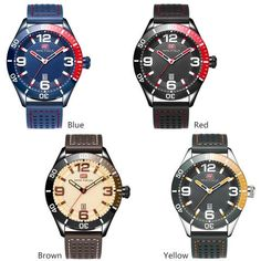 MINI FOCUS Top Brand Luxury Men Military Sports Watches Men's Quartz Analog Date Clock Male Leather Strap Army Wrist Watch Blue From Touchy Style Outfit Accessories.  Variant: Brown. Cute Watches, Cheap Watches, Vintage Watches, Mens Sport Watches, Watches For Men, Yellow And Brown, Blue, Look Plus Size, Watches Photography