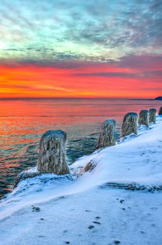 Sunrise, North of Chicago, Lake Michigan
