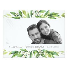L'Orangerie Wedding Thank You Card - spring wedding diy marriage customize personalize couple idea individuel