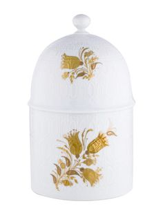 73d2c90a8f5 White Rosenthal textured porcelain canister with gold floral motif.
