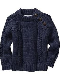 """Cable-Knit Shoulder-Button Sweaters for Baby 