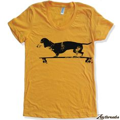 Womens Longboard DACHSHUND T Shirt american apparel by ZenThreads
