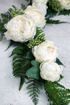 Deluxe White Peony & Fern Garland 4 FT