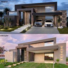 Modern Exterior House Designs, Modern House Facades, Modern Villa Design, Dream House Exterior, House Outside Design, House Gate Design, Bungalow House Design, House Front Design, Minimal House Design