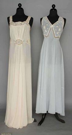 TWO CHIFFON NEGLIGEE SETS, 1930-1940. Both silk w/ matching bolero jackets: 1 powder blue w/ white lace  embroidery. Front