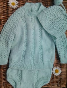 Little Boy's green outfit of sweater pants and by bebbyjumpers, £27.00