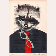 I like dictionary illustrations :) Raccoon Hands, Steampunk, Forest Party, Motifs Animal, Art Addiction, Street Art, Mixed Media Artwork, Hand Painted, Drawings