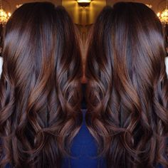 Long Curled Chocolate Brown Hair with Cinnamon Highlights. So beautiful!