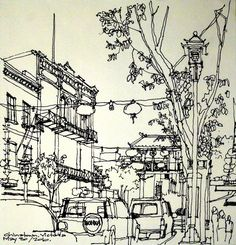 single line sketch on an interesting paper Perspective Sketch, City Sketch, Dark Drawings, Watercolor Architecture, Illustration Art, Illustrations, Landscape Sketch, Urban Sketchers, Cool Sketches