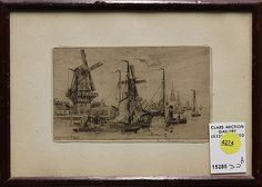 Framed etching, Dutch Harbor, by Eugene Rensburg (Dutch, pencil signed lower right, overall: x Gouda, Dutch, Auction, Pencil, Frame, Artist, Artwork, Painting, Picture Frame