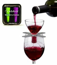 Metrokane Rabbit Wine Swish Aerator with Bonus Set of Two Silicone Wine Stoppers in Multi-color by Metrokane. $19.95. Fits all bottle sizes. Includes a fine-mesh screen to catch and remove sediment. Provides an air-tight seal to prolong and preserve opened bottles of wine. Place the Aerator on the glass and pour wine for instant Aeration. Rabbit's New Swish Wine Aerator makes the Decanting process fast, easy and convenient. Simply place the aerator on the glass - ...