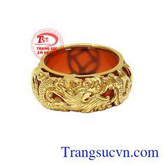 Nhẫn ngọc bọc rồng vàng đẹp, Nhẫn ngọc bọc vàng, Nhẫn vàng tây sang trọng