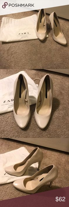 Zara heels Zara high heels. Worn once! Off-white/cream color. Purchased from Zara, comes with Zara dust bag. Zara Shoes Heels