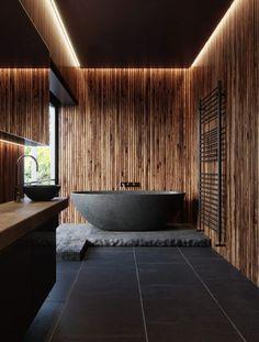 salle de bain theme nature noire et bois baignoire ilot ardoise japonisante style japandi cloison en
