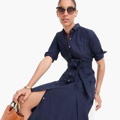 tie-waist shirtdress in cotton poplin : women just in