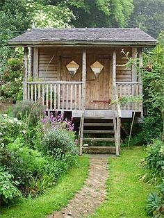 Oh how I love this little reclaimed wood looking shed in the middle of a garden... | DIY | Pinterest | Little Houses, Sheds and House