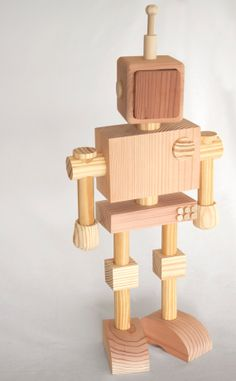 A wooden robot building set