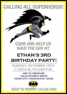 Items Similar To Custom Batman Superhero Birthday Invitations On Etsy