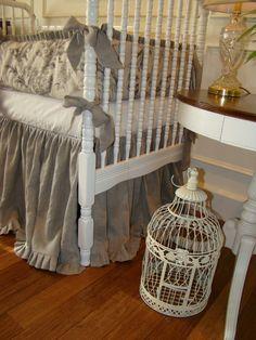 Baby Crib Bedding Crib Set Oatmeal Linen and Velvet 2 by LinenBaby, $285.00
