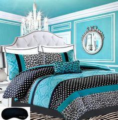 Teen Girls Bedding Damask Leopard Comforter TWIN / TWIN XL Bedspread Black White Teal Aqua Blue Set   Sham   Adorable Throw Pillow   Home Style Brand Sleep Mask Polka Dot Comforters Sets for Girl Kids * Additional details at the pin image, click it  (This is an amazon affiliate link. I may earn commission from it)
