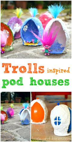 Make these adorable TROLLS Inspired Pod Houses! frogs-and-fairies.com