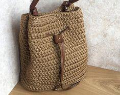 Vintage Brown Bucket Bag - Shoulder bucket bag - City style - Crochet handbag