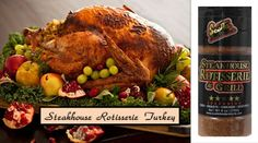 Use our delicious family recipe for your Thanksgiving Dinner...Steakhouse Rotisserie Grill Turkey! #turkey #thanksgiving #scottsfoodproducts
