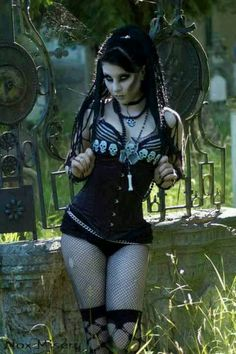 Death #Goth girl playing in the graveyard