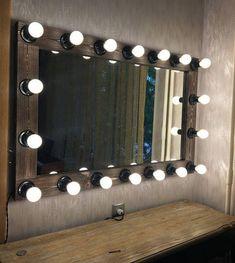 Vanity Mirror with lights, Hollywood mirror, Mirror with lamps Light Up Signs, Light Up Letters, Hollywood Mirror With Lights, Wedding Letters, Marquee Sign, Lighting Showroom, Beauty Room, New Room, Track Lighting