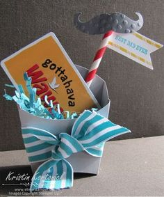 I made this adorable gift card holder for Father's Day. It would also be a fun party favor. Made with the Fry Die from Stampin' Up!