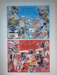 Noun and verb collage-Students have so much fun making them. Keep it up in the classroom all year to refer to! High School Activities, School Resources, Classroom Activities, Classroom Décor, Grammar And Punctuation, Grammar Lessons, Writing Lessons, Teaching Nouns, Student Teaching