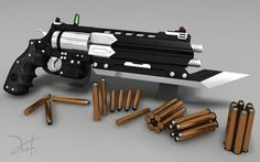 """Just applied some of my materials to the higpoly model of the """"Brotherguard"""" Revolver. I think it's worth showing Game Ready Model here: Making of Game Model: ----- 4gunnuts: The two barrels fire t..."""