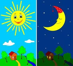 Illustration about Countryside view in the daytime and nighttime with the sun and the moon in cartoon style. Illustration of cartoon, nature, outdoor - 20502236 Day For Night, Night Time, Countryside Landscape, Shape Posters, First Fathers Day Gifts, Farm Theme, Night Routine, Banner Printing, Montessori Activities