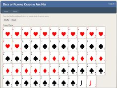 Created a web page that displayed and shuffled a deck of cards using Asp.net, C#, HTML, and CSS during a job interview.