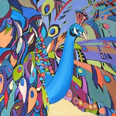 Daily Painting, Attracting Attention, abstracted peacock, painting by artist Carolee Clark