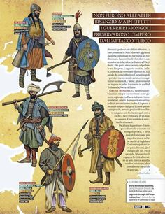 Enemis of the Eastern Roman empire XI-XV centuries Ancient Armor, Medieval Armor, Military Art, Military History, High Middle Ages, Armadura Medieval, Knights Templar, Dark Ages, Ancient History