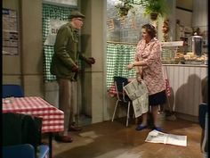 Last of the Summer Wine - Episode 60: The Woolen Mills of Your Mind - Ivy putting down paper for Foggy to walk on.