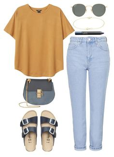 """""""879"""" by dasha-volodina ❤ liked on Polyvore featuring Topshop, Monki, Ray-Ban, Chloé, Jennifer Meyer Jewelry, Birkenstock and NARS Cosmetics"""
